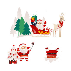 vector flat cartoon santa claus in christmas clothing riding reindeer flying sleigh smiling, stuck in the chimney on the roof and making selfie with present boxes set. Illustration isolated