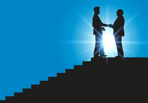 Poignée de main - leadership - génération - carrière - succès - réussite - escalier - ascension - challenge