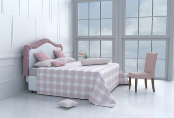 White bed room decorated with tree in glass vase, pink&orange pillows, bedside table,table, light pink blanket, Window,sky,Lamp, White wall it is pattern,orange chair, white cement floor.3d rendering.