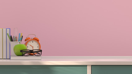 Eyeglasses on books desktop clock and fruit apple and pen on the table colurful 3D rendering decoration in front of pink wall with sunlight beautiful picture.