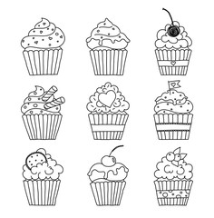 cupcakes outline set