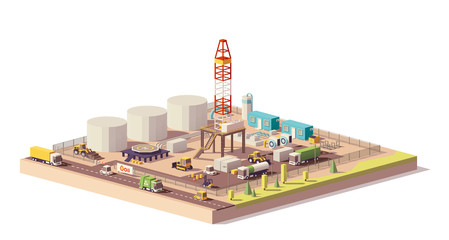 Vector low poly land oil and gas drilling rig