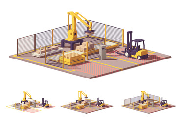 Vector low poly robotic palletizing cell