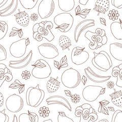 vector flat sketch style fresh ripe fruits, vegetables monochrome seamless pattern. Apple, lime bellpepper apple, watermelon pear, orange strawberry banana, broccoli. Isolated illustration