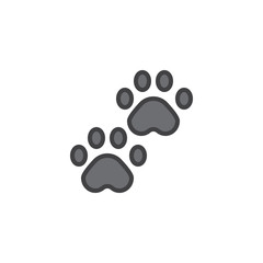 Pawprints filled outline icon, line vector sign, linear colorful pictogram isolated on white. Paw symbol, logo illustration. Pixel perfect vector graphics