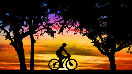Silhouette man and bike relaxing on blurry sunrise background.painting .