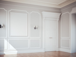 Classic interior with white doors. 3d rendering