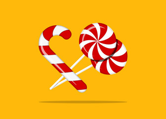 lollipop and candy cane. yellow background