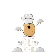 vector funny cartoon cute brown chef potato with mustache and beard