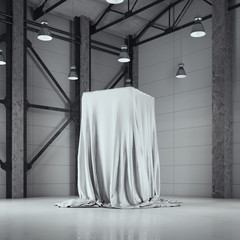Loft hangar with photo studio and covered with cloth showcase. 3d rendering
