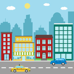 City landscape with buildings,stores, car and taxi