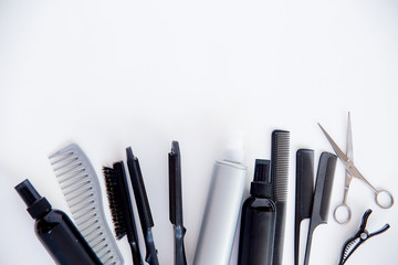 Set of different hairbrushes