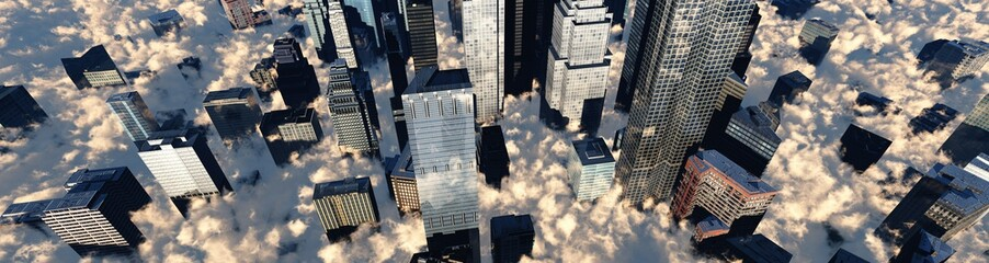 Skyscrapers in the clouds, a panorama of a modern city in the clouds, banner