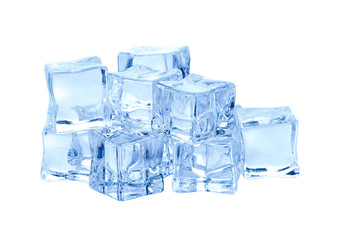 Cubes of ice on white background