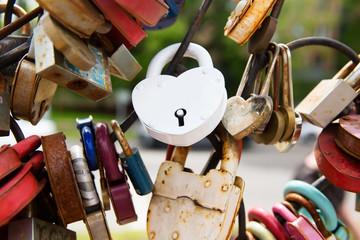 White decorated padlock of love