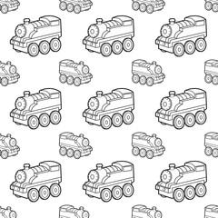 cute train seamless pattern vector cartoon