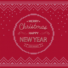 Merry Christmas and Happy New Year Greeting red knitted Background. Xmas logo lettering in a circle with borders. Winter Holiday Sweater Design. Vector Illustration