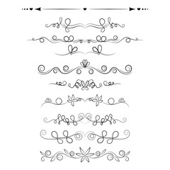 Set of decorative swirls elements, dividers, page decors.