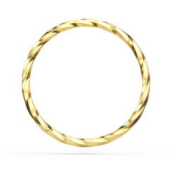 Gold twisted ring isolated on white background - 3d illustration