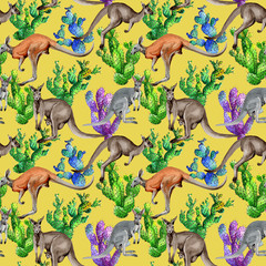 Exotic kangaroo wild animal pattern in a watercolor style. Full name of the animal: kangaroo, wallaroo, wallaby. Aquarelle wild animal for background, texture, wrapper pattern or tattoo.