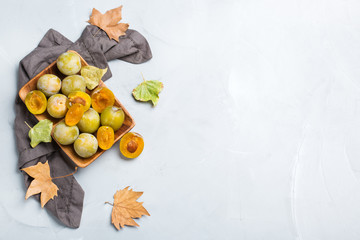 Harvest fall autumn concept. Ripe juicy yellow plums
