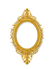 oval gold vintage picture frame isolate on white