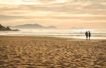 Playa de Sopelana al atardecer, Vizcaya, País vasco, España