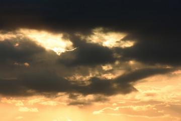 空と雲「空想・雲のモンスター【黒い雲のところに顔(オレンジ色に染まったところが二つ目)】」(眼光が鋭い、鋭い眼差し、見つめる、目力などのイメージ)