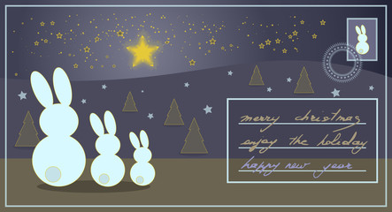 Christmas card with rabbits watching bright stars and greeting text
