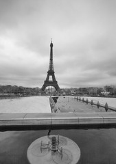 Infrared view of Eiffel Tower from Trocadero park, Paris