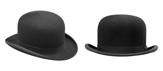 Two stylish black bowler hat