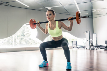 Determined woman holding a barbell behind the neck during functional training workout