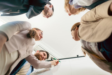 Low-angle view of an international team working together during brainstorming session