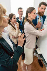 Intelligent business expert conducting a SWOT analysis during an interactive meeting