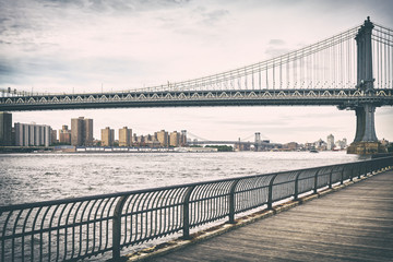 Retro old film stylized picture of Manhattan Bridge, New York, USA.