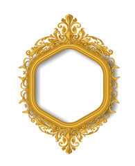 hexagon  gold vintage picture frame on white wall