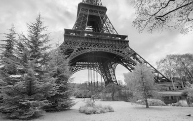 Infrared view of Eiffel Tower from Champs de Mars park, Paris