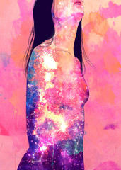 Young woman looking up, cosmic pattern on body