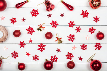 Christmas background - Christmas toys, snowflakes and bells