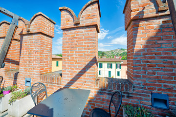 happy hour on bastions of medieval castle