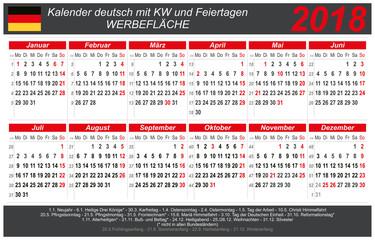Kalender 2018 - grau-rot - quer - deutsch - mit Feiertagen