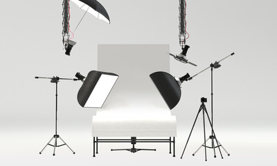 photo studio with professional pack shot table and lighting equipment. front view, 3D Rendering