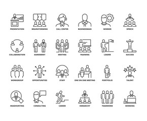Line icons about business people