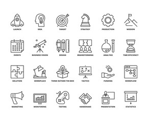 Line icons about business process