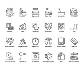 Line icons about hotel