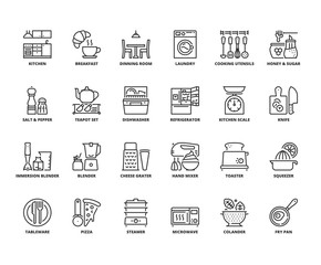 Line icons about kitchen