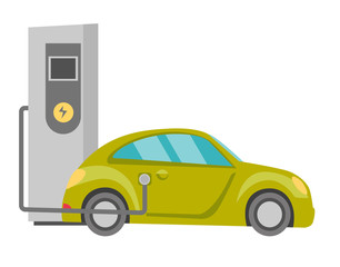 Electric car and power supply for electric car charging vector cartoon illustration isolated on white background.