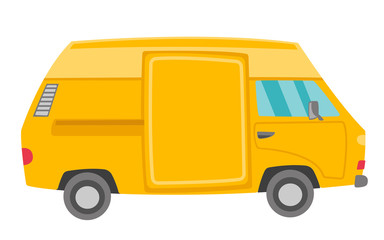 Yellow van vector cartoon illustration isolated on white background.
