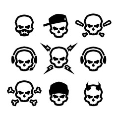 Set of skulls logo, symbol, sign.