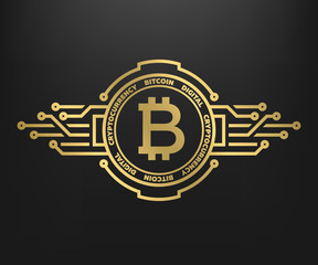 Bitcoin, abstract golden symbol of internet money. Digital Crypto currency symbol.